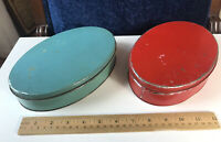 Vintage TINDECO Oval Tins Solid Blue & Red Pair 1920-1935 Rustic Country Shabby