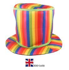 GIANT TALL RAINBOW TOP HAT Adult Novelty Clown Fancy Dress Pride Festival NEW UK