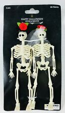 2 Mini Dressed Up Skeletons in Wedding Veil & Hat Halloween Day of Dead Decor 6""