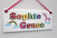 Children's rainbow and unicorn wooden bedroom door sign plaque