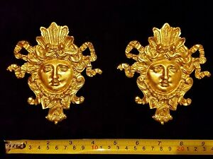 PAIR DECORATIVE MOULDING FEMALE FACE LOUIS XV GOLD GILT OR WHITE WALL DECORATION