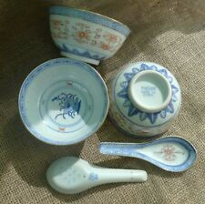 Old Hand Painted Porcelain Rice Bowls x3 With Spoons x2 Made In China Cup Bowl