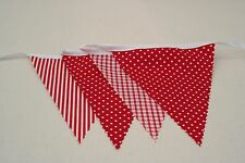 In The Red Mix Cotton Fabric Single Side Bunting 12m long