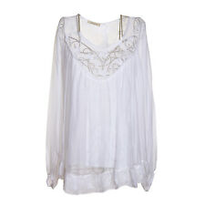 Ladies Lagenlook Italian Gorgeous White Silk Chiffon & Lace One SizeTunic/Blouse