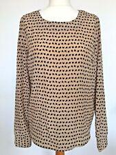 Womens Mocha Beige Black Blouse Long Sleeve Butterflies Print Top Shirt UK10