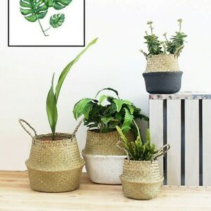 Basket Folding Wicker Work Flower Pot Seagrass Plant Storage Bucket Free Shiping