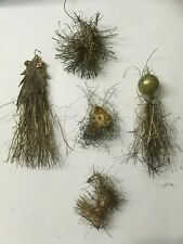 5 Antique German Victorian Tinsel Wire Christmas Ornaments Mercury, Cut Out #8