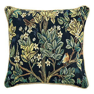 """William Morris Tree of Life Tapestry Throw Pillow Cover & Pillow Insert Blue 18"""""""