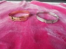 TWO VICTORIAN CHILDREN'S BRACELETS , 1 STERLING SILVER THE OTHER GOLD FILLED