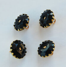 VINTAGE 4 JET BLACK FACETED GLASS BUTTON BUTTONS BRASS 15mm Red's Vintage Stuff