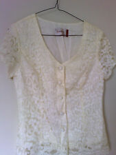 Design for Evening by ROCKMANS Elegant Short Sleeve Ivory Lace V Neck Blouse