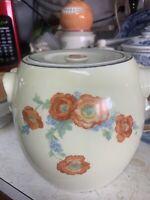 Stunning Antique MCM HALL'S Orange Poppy PRETZEL Handled Pretzel or Cookie Jar!!