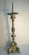 Objet religieux Napoléon III Pique cierge en bronze argenté sur base tripode
