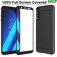 Samsung A7 Case Armor Cover + Tempered Glass Film For Samsung Galaxy A7 2018