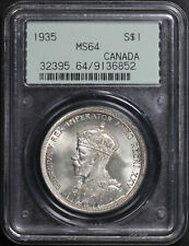 1935 Canada Silver Dollar PCGS MS-64 Old Green Gasket Holder