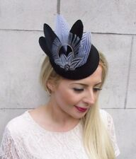 Black Grey Feather Pillbox Hat Hair Fascinator Races Clip Wedding Vintage 3913