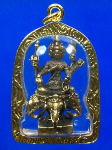 Brahma God Rowel Talisman Statue Singha Gold Micron Pendant Thai Buddha Amulet
