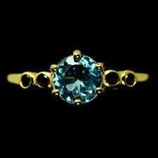 TOP TOPAZ SPINEL RING : Natürliche Blau Topas und Spinell Silberring Vergoldet