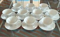SET OF 10 ROSENTHAL CLASSIC MODERN WHITE CUPS AND SAUCERS PRISTINE FREE SHIPPING