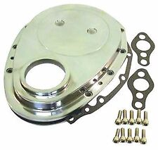 TIMING CHAIN COVER KIT SBC CHEV ALUMINIUM POLISHED HOTROD DRAG BURNOUT SKIDS 350