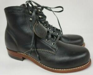 Wolverine 1000 Mile Plain Toe Black Leather Boots Size 7.5 D