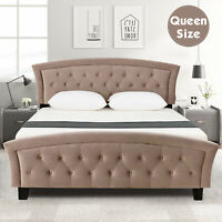 Queen Velvet Upholstered Platform Metal Bed Frame Furniture Wood Slates Brown