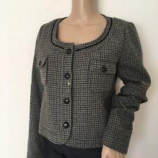 UNIQLO $99.50MSRP Women Houndstooth Non-Collar Gray Crop Blazer Jacket Size L