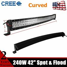 42inch 240W CREE CURVED Off Road LED WORK LIGHT BAR FLOOD SPOT Combo Truck 40/44