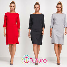 Ladies Formal Dress 3/4 Sleeve Knee Length Office Tunic Plus Sizes 8 - 18 FA436