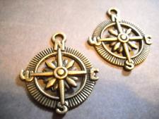 4 Compass Pendants Antiqued Bronze Compass Charms Nautical