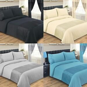 DUVET COVER BED SET DOUBLE KING SUPER KING SIZE BLACK CREAM TEAL SILVER EMERALD