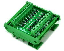 DIN Rail Mount1 Amp 1000V Common Cathode 16 Diode Network Module, 1N4007.