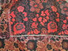 """Antique Tapestry 24"""" x 24"""" hand woven black red floral Art doily table cover"""