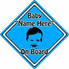 Personalised Baby/Child On Board Car Sign ~ Baby Face Silhouette ~ Neon Blue