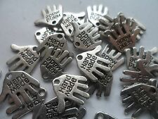 """100 Antique Silver """"Hand Made"""" Double Sided charms/beads 13x13x1mm~ 1mm hole"""