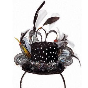 Hollywood Dlxe Glitter Black Top Hat Silver Spring Racing Fascinator Ladies NYE