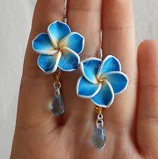 925 Sterling Silver Sky Blue Yellow Flowers & Swarovski Crystals Cute Earrings