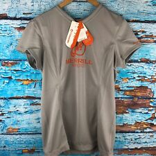 Woman's Size M Merrell Barefoot Tech Shirt Opti-Wick T-Shirt Grey/Orange 20+ SPF