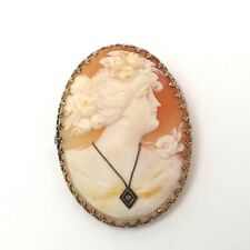 Habille Necklace Cameo Brooch Pin Pendant Art Deco 14k White Gold Diamond