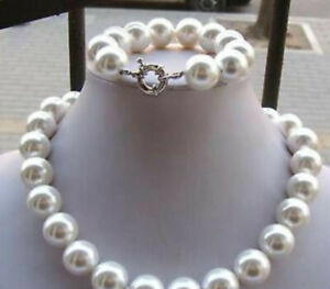"""Big 14mm White AAA South Sea Shell Pearl Round Beads Necklace Bracelet Set 18"""""""