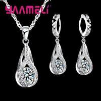 Damen Schmuckset 925 Silber Halskette Ohrringe Ohrstecker Ohrschmuck Kette NEU