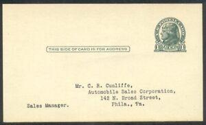 U.S. #UX27D Unused w/Cert - 1916 1c Dark Green, Die II