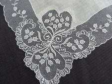 Vtg Linen WIDE Lace LINEN Handkerchief Bridal Wedding White Hearts Flowers Heirl