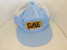 Cat Diesel Power Vintage Trucker Hat Mesh Cap Ballcap Snapback Baby Blue Cotton