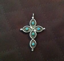Sided vintage Cross Pendant 70's Sterling Silver Hand Crafted Double