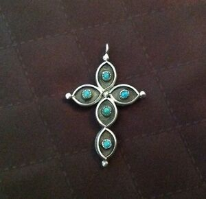 Sterling Silver Hand Crafted DOUBLE SIDED vintage Cross Pendant 70's.  Beau