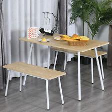 Homcom 3 Pcs Table Dining Set 2 Matching Benches P2 Grade Mdf Steel Legs