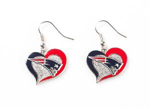 New England Patriots Football NFL Heart Swirl Charm Silver Dangle Earrings Set