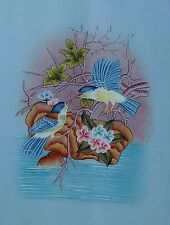 BEAUTIFUL INDIAN ROLLER WILD BIRDS HAND MADE WATER COLOR PAINTING ON SILK DECOR