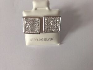 STUNNING STERLING SILVER RP CLR PAVE CZ SQ STUD EARINGS